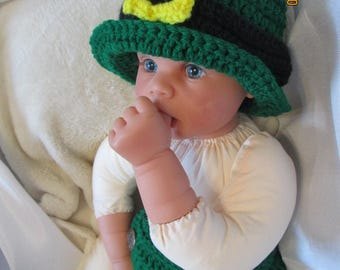 St. Patrick's Day Leprechaun Hat and Diaper Cover with Gold buckle-Costume GREAT PHOTO PROP!