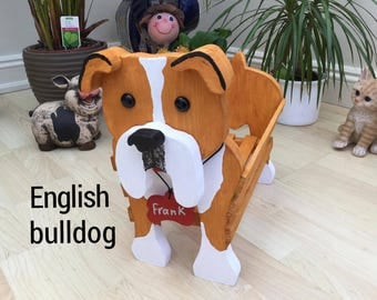 ENGLISH BULLDOG,wooden dog planter,garden ornament