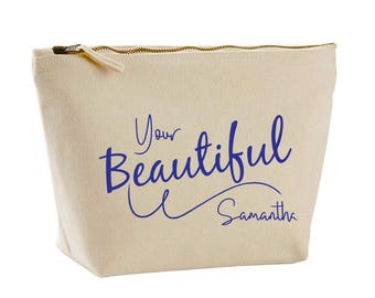 Beautiful Your Beautiful Design Canvas Make Up Bag Personalised Gifts for her