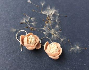 handmade porcelain pink&white earrings, silver hooks