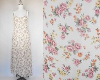 VINTAGE 90s Floral Slip Dress 90s Grunge Dress Floral Womens Dress Maxi Dress