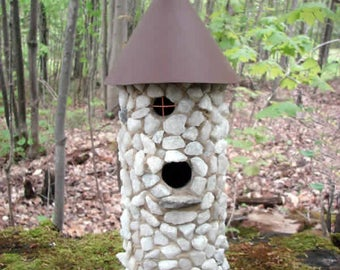White Stone Birdhouse, Outdoor Birdhouse, Stone Birdhouse, Unique Birdhouse, Bird House