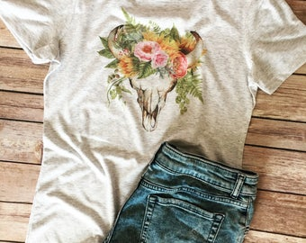 Floral Cow Skull tee