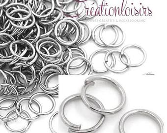 100 6 mm color silver matte jump rings