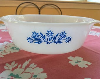 Anchor Hocking Fireking Oven Proof Casserole with Blue Cornflowers, Vintage Fireking with Blue Flowers