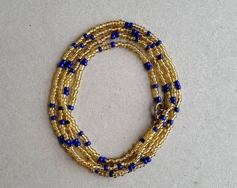 Waist Beads, African Waist Bead, Belly Chains, Belly Beads, Waist Chain, Body Jewelry, Gold Blue Necklace, Wrap Bracelet, African Beads