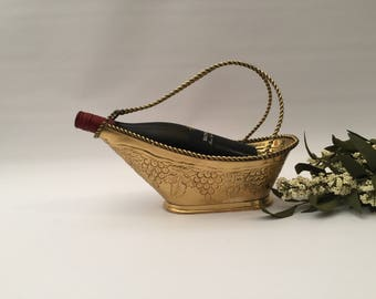 Brass Wine Carrier With Brass Rope Handle