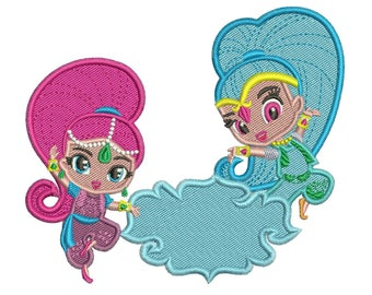 4x4 5x7 Shimmer and Shine Stitch Embroidery Design 2 sizes instant download