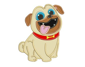 Puppy Pal Rolly Applique Design 3 sizes Instant Download