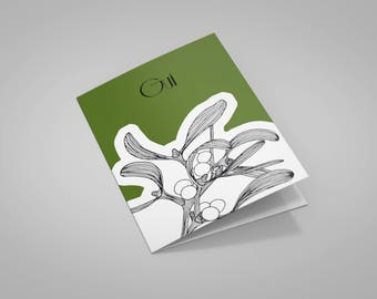 """Mistletoe art"" greeting card with envelope"