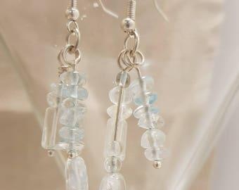 Blue topaz earrings; Gemstone earrings; Topaz earrings; Blue earrings; Silver earrings