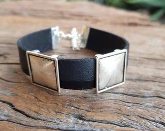 Men's bracelet; Leather bracelet; Men's leather bracelet; Black leather; Unisex bracelet; Black bracelet; Boyfriend bracelet; Mens bracelet