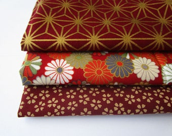 Lot of 3 coupons 45 x 35 cm - stars asahona and chrysamtemes - red bordeaux