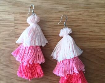 Pink Ombré Tassel Earrings