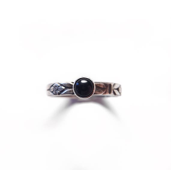 Onyx Stacker Ring / Onyx Stacker / Onyx Ring / Silver Stacker Ring / Stacking Ring / Onyx / Womans Ring / Minimalist Ring / Floral Pattern