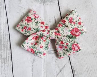 Baby Girl, Toddler, Fabric Vintage Floral Bow