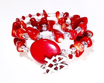 Feelin' Hot, Hot, Hot! Red gemstone bracelet, silverplate Hugs and Kisses charm, red howlite, red bamboo coral, memory wire