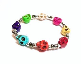 A Skull of a Different Color~ Handmade Beaded Stretch Bracelet~ Howlite Skull Beads~ Silver Seed Beads~ Adjustable~ For Men or Women