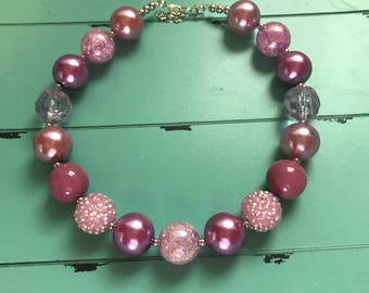chunky necklace chunky bead necklace purple chunky necklace bubblegum bead necklace children necklace girls chunky necklace photo prop