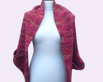 Shrug / shawl with pockets - merino/silk - handwoven - red