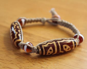Hemp Bracelet with Tribal Pattern Glass Beads - Gift for Him - Comfortable Macrame Bracelet With Neutral Colors