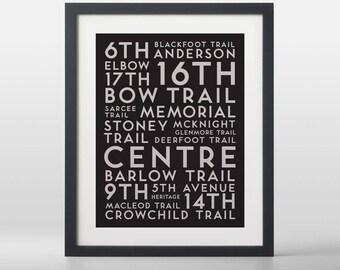 Calgary City Streets Typography Art Print