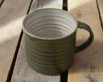 Handmade Ceramic Mug *Made to order* Hand crafted pottery mug with a dark green stoneware glaze