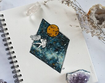FINE ART PRINT of Watercolor Painting, Whimsical Moon Outer Space Scene, Girl Swinging from Moon Illustration, Cosmos Universe
