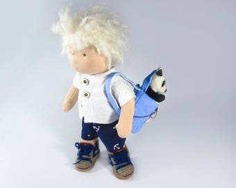Wladorf Boy Doll with Backpack and Panda pal