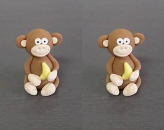 2 x 3D Monkey Cake topper, monkey decoration, Edible fondant monkey, jungle theme, wild animals, animal cake decorations, monkey party