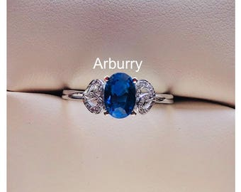 18k solid white gold Natural kyanite with natural diamonds ring