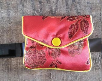 Red Asian fabric coin purse