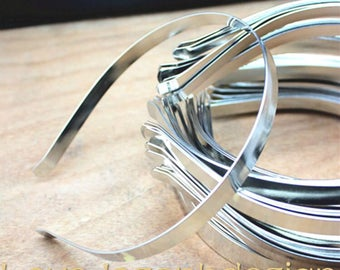 5pieces  Silver and black stainless steel hair headband 10mm wide
