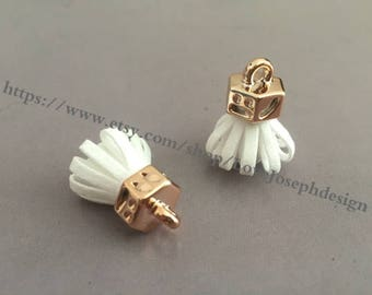 20pieces white suede leather KC gold caps ear tassel --for length 30mmx20mm(#0179)