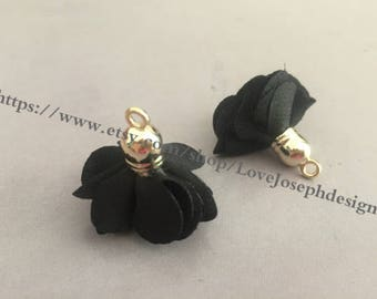 Set of 20 or 50pieces Black delicately layered chiffon fabric flower tassel --for length 30mm (#0352)