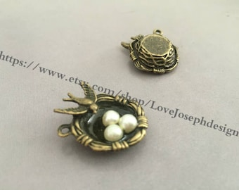 5Pieces /Lot Antique Bronze Plated 24mmx20mm bird's nest charms(#0366)