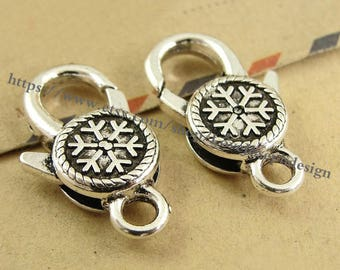 Set of 10 Pieces /Lot Antique Silver plated 14mmx25mm Snowflake Lobster clasps (#0416)