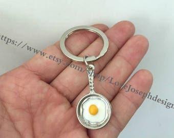 Fried Egg keychain, Egg pan keychain,Fried Egg pan gifts key ring