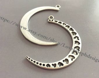 wholesale 50 Pieces /Lot Antique Silver & Bronze Plated 33mmx49mm heart moon charms(# 0919)
