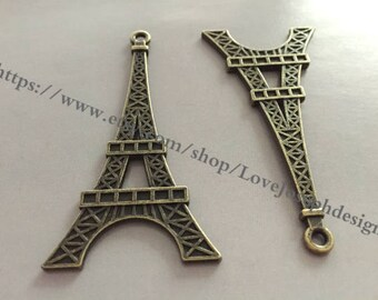 wholesale 50 Pieces /Lot Antique Bronze Plated 35mmx70mm Eiffel Tower  2 Sided Charms (#0932)