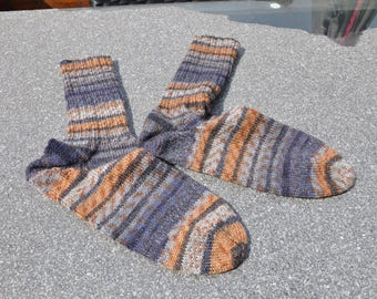Socks hand knitted Brown / grey tones size 44/45