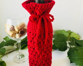 Wine Bag, Wine Bag Gift, Crochet Wine Bag, Hostess Gift, Housewarming Gift, Crochet Bag,  Crochet Sack, Wine Sack, Wine Gift, Wine Lover