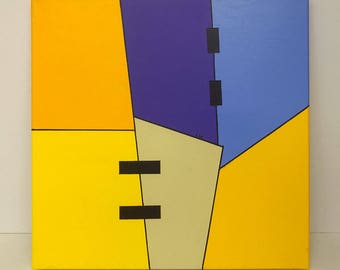 Original abstract, modern and geometric painting on canvas. By RluArt