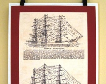 Vintage Dictionary Picture of a Full Rigged Sailing Ship, Ready to Hang, Ship Rigging
