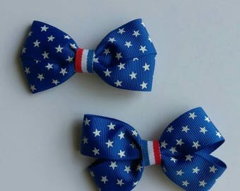 "Fourth of July hair bow, Independence day hair bow, stars hair bow, red white and blue hair bows, holiday hair bow, 3"" hair bow, pigtail bow"