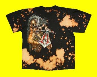 Custom Bleached Biker Undead Swordsman Black T-Shirt XL