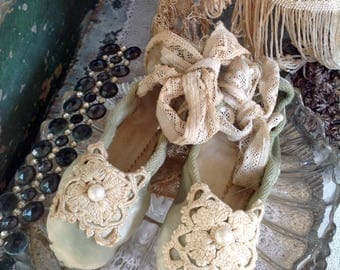 Vintage lace and pearls ballet pumps