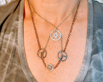 Steampunk Multi-Strand Gears Necklace
