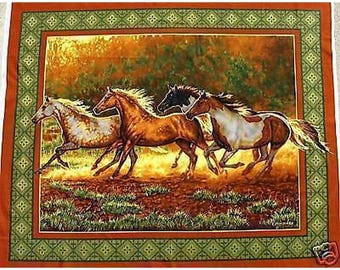 Fabric cotton pillows table GALLOPING horses