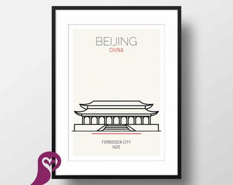 Forbidden City Poster | Beijing | China | Buildings | Architecture | Wall Art | Wall Decor | Home Decor | Office Decor | Poster | Digital